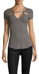 Free People Cut-out Striped Knit T Shirt Blue & Taupe