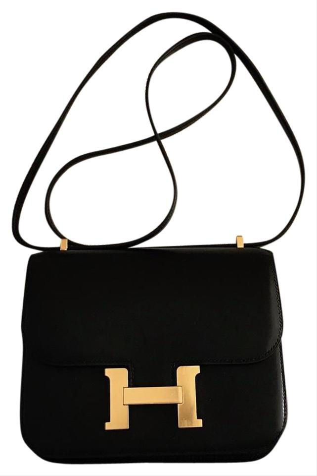 bd1ead33a2fd Hermès Constance Evercalf with Gold Hardware Black Leather Shoulder ...