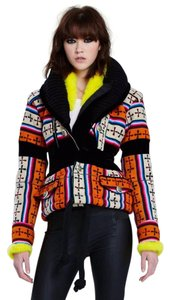 Balenciaga Fur Coat Embroidered Graphic Tapestry Jacket
