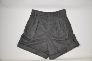 Chloé High Waist Size 28 Made In France Wool Cuffed Shorts Grey