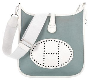 Herms Toile Leather Cross Body Bag