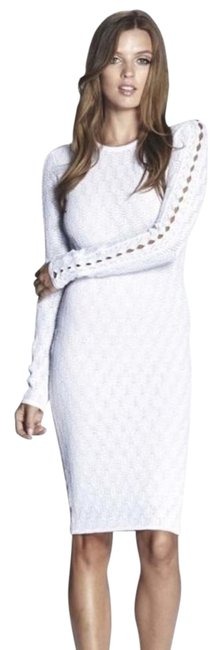 Item - White Lace Mid-length Short Casual Dress Size 12 (L)