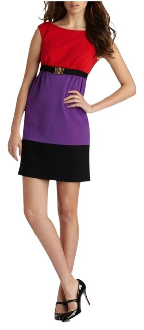 Item - Red/Black/Purple Sleeveless Natalie Colorblock Belted Mid-length Cocktail Dress Size Petite 2 (XS)