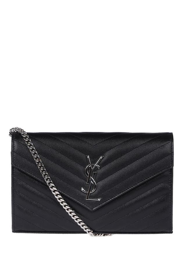 10983c790152d Saint Laurent Chain Wallet Monogram In Textured Matelasse Black ...