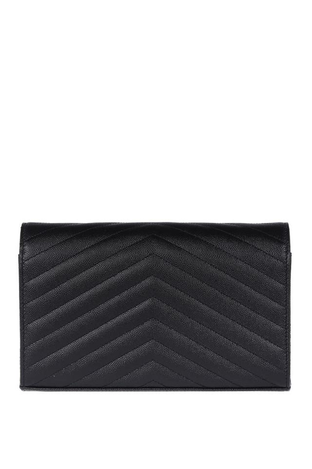 Leather Wallet Saint Chain In Monogram Laurent Bag Body Black Textured Cross Matelasse qR8w6O