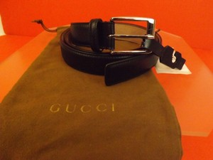 Gucci Black/Silver Leather Square Buckle Belt 336831 Size 115-46 Men's Jewelry and Accessories