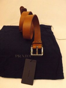 Prada Brown Calf Leather Small Silver Buckle Belt 34/85 Men's Jewelry/Accessory