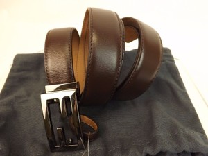 Fendi Brown Leather Palladium Square Ff Logo Buckle Belt One Size Men's Jewelry/Accessory