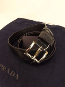Prada Black/Silver Textured Leather Small Buckle Belt Size 85-34 Men's Jewelry/Accessory