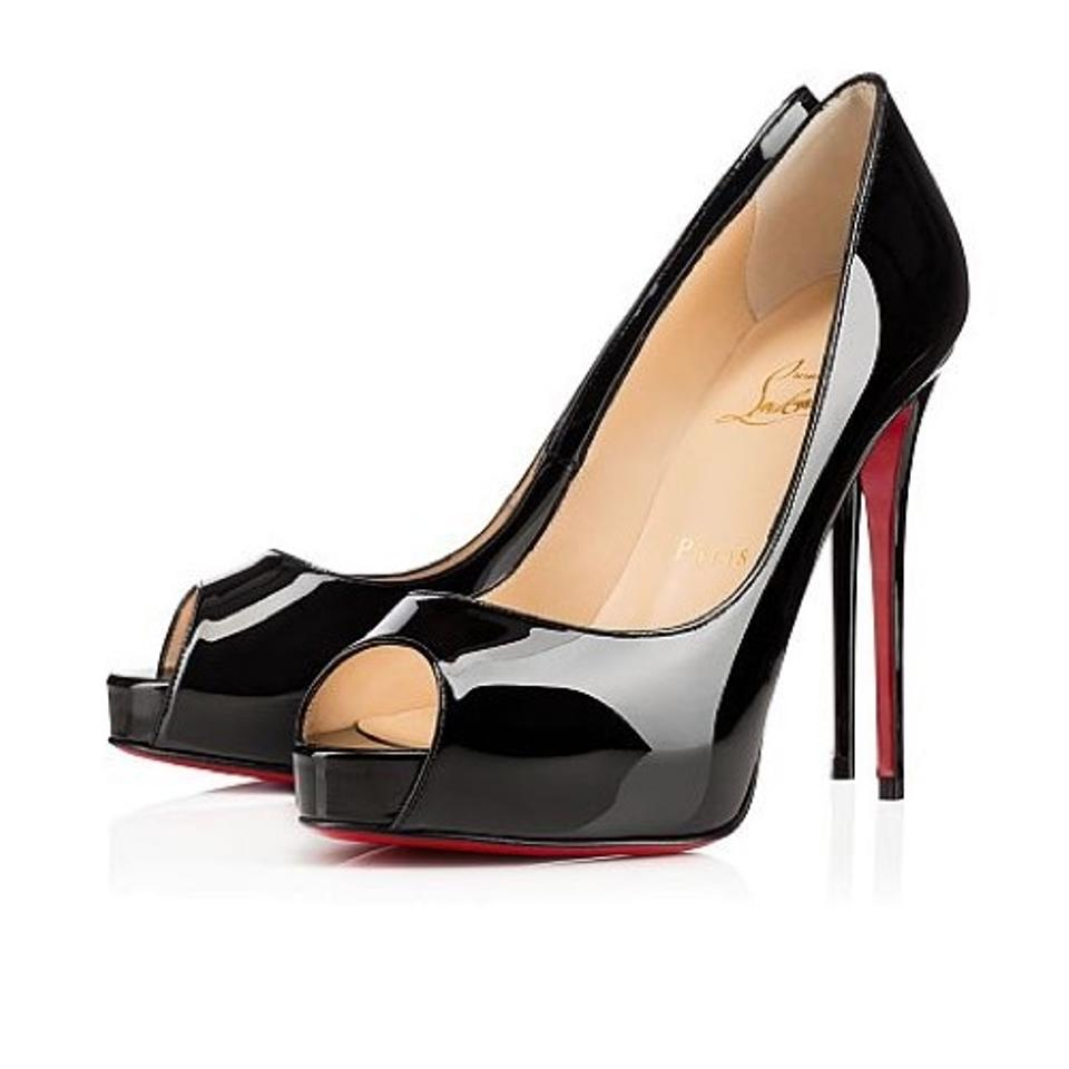 huge selection of e59f3 53a72 Christian Louboutin Black New Very Prive 120 Patent Leather Peep Toe Pumps  Platforms Size US 8.5 Regular (M, B) 10% off retail