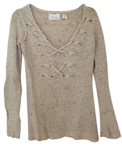 Coincidence & Chance Lace Up Marled Rustic Off Sweater