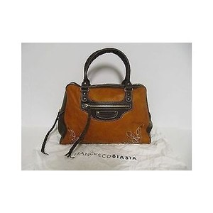 Francesco Biasia Burnt Orange Distressed Leather Embroidered Handbag Tote in White