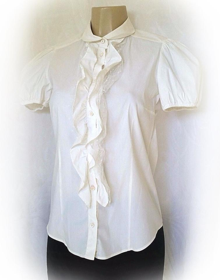 RED Valentino White Shirt Short Sleeve Ruffle Blouse 4 Button-down ...