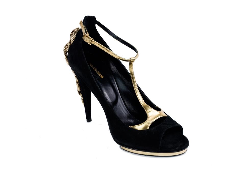 39a52b3be71cd Roberto Cavalli Black Suede & Gold Leather Serpent Pumps Size US 8 ...