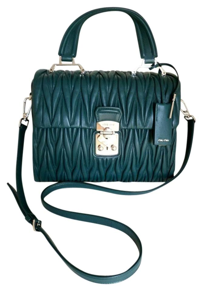 d6e2d8723fe Miu Miu By Prada Matelasse Med Flap Top Handle Satchel Petrol Blue Lambskin  Leather Cross Body Bag