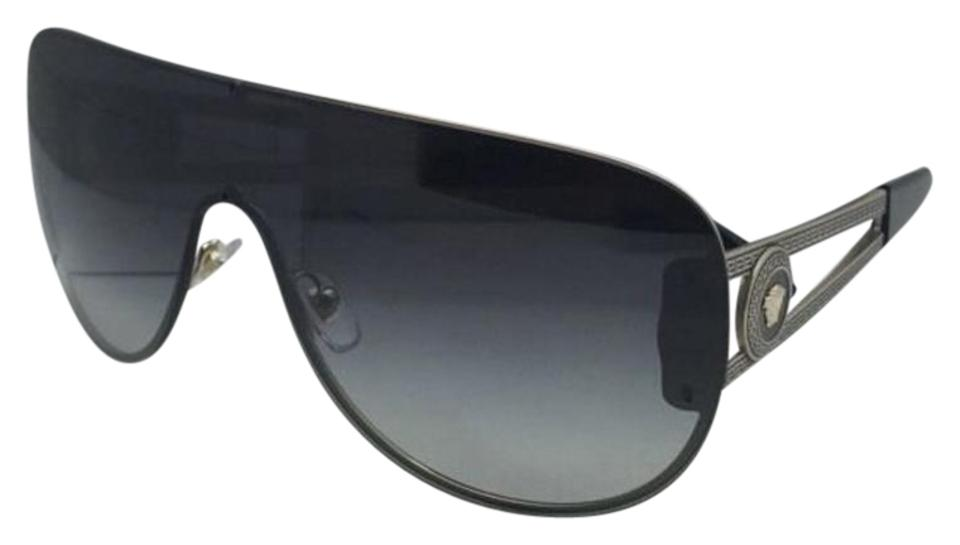 fa3d1953469a2 Versace Ve 2166 1252 8g 140 Gold   Black Shield Frames+grey Fade 1252 8g W Grey  Sunglasses