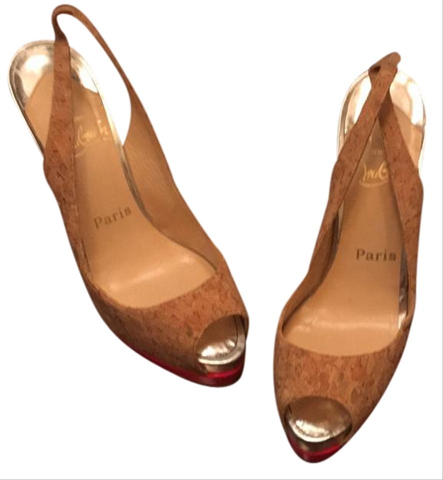 68aef031563 Christian Louboutin Cork Silver and Hot Pink Slingback Peep Toe Pumps  Platforms. Size  EU 37 (Approx. US 7) ...