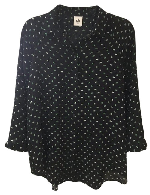 Item - Navy Blue Martini Button-down Top Size 4 (S)