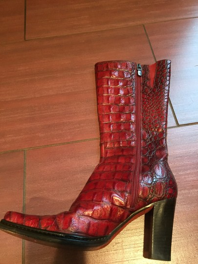 Donald J. Pliner Crocodile Leather red Boots