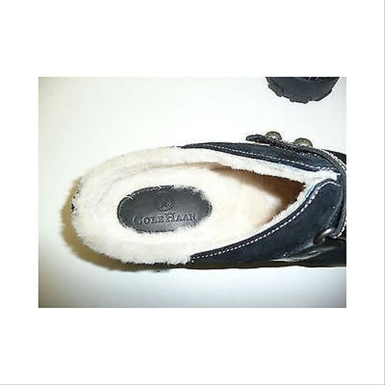 Cole Haan Womens Suede Meribel Shearling Mules Blacks Flats