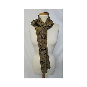 Womens Fern Wayne Scarf Hand-loomed Knitwear Petroglyph Honey