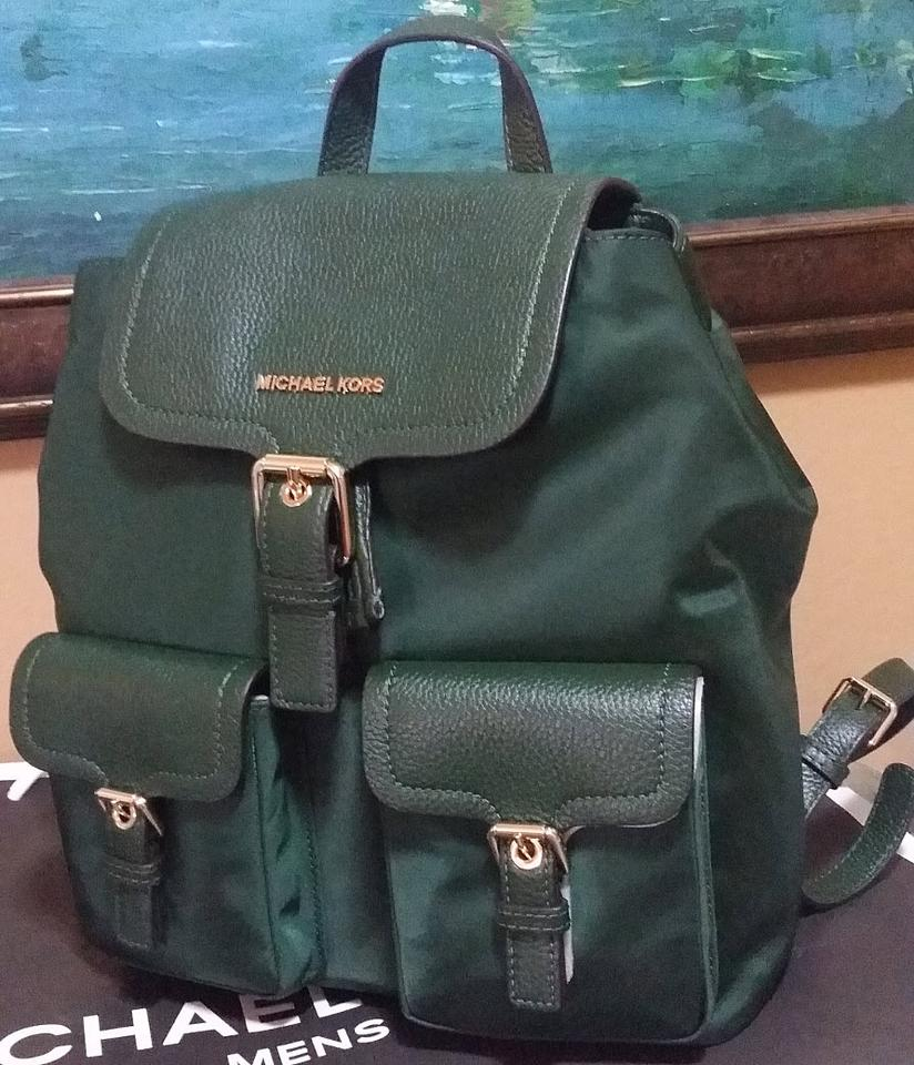 eaf2e234301683 Michael Kors Susie Vs Cooper Large Flap Nylon Moss Green Leather ...