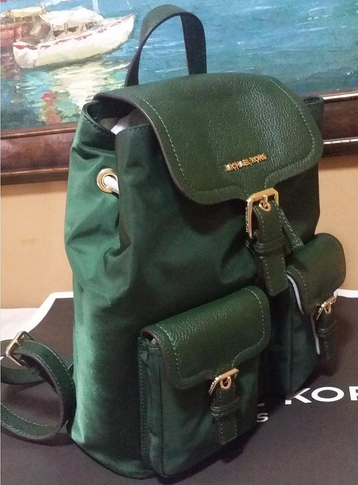 bbe2cacd3b8d Michael Kors Susie Vs Cooper Large Flap Nylon Moss Green Leather Backpack -  Tradesy