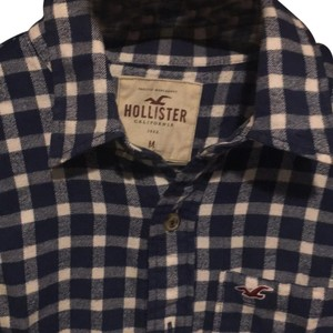 Hollister Button Down Shirt blue and white