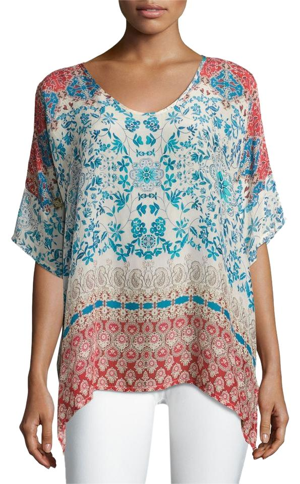 9389dbbe51d Johnny Was Multicolor Bay Floral   Paisley Printed Georgette Poncho ...