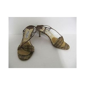 Jimmy Choo Womens London Plaid Strappy Sandals Heels Browns Pumps