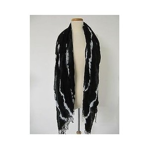 Saks Fifth Avenue Saks Fifth Avenue 548 Black White Tie Dye Fringe Fashion Scarf