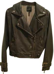 Jessica Simpson Faux Faux Fur Mad Max Motorcycle Brown Leather Jacket