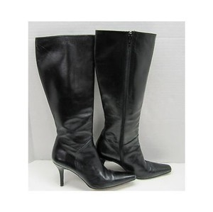 Stuart Weitzman Womens Leather Knee High Heels Black Boots