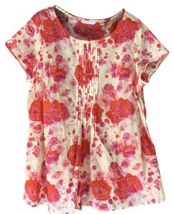 Isaac Mizrahi Live! Sleeveless Plus-size Rose Pattern Pin Pleated Rounded Neckline Tunic