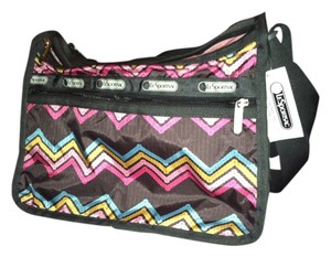 Le SportSac Awesome Zigzag gunmetal gray/blue/yellow/pink Messenger Bag