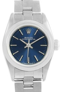 Rolex Rolex Oyster Perpetual Nondate Ladies Steel Blue Dial Watch 67180