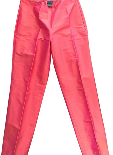 Item - Red Blood Orange Raw Silk with Sheen Ply Pants Size 4 (S, 27)