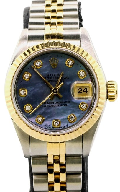 Rolex White Datejust 18k Yellow Gold Fluted Bezel with Diamond Hour 26mm Watch Rolex White Datejust 18k Yellow Gold Fluted Bezel with Diamond Hour 26mm Watch Image 1
