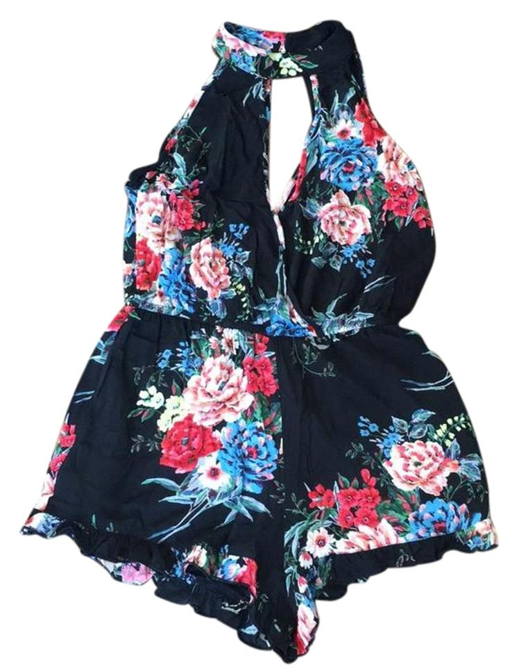 c19d6e6dcc0 Band of Gypsies Black Floral Keyhole Romper Jumpsuit - Tradesy