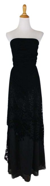 Item - Black Couture Strapless Velvet and Lace Gown Ballgown Long Formal Dress Size 6 (S)