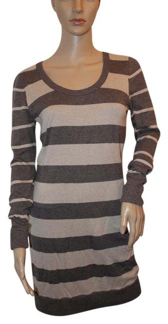 Item - Gray Striped Long Sleeve Sweater Small Short Casual Dress Size 4 (S)