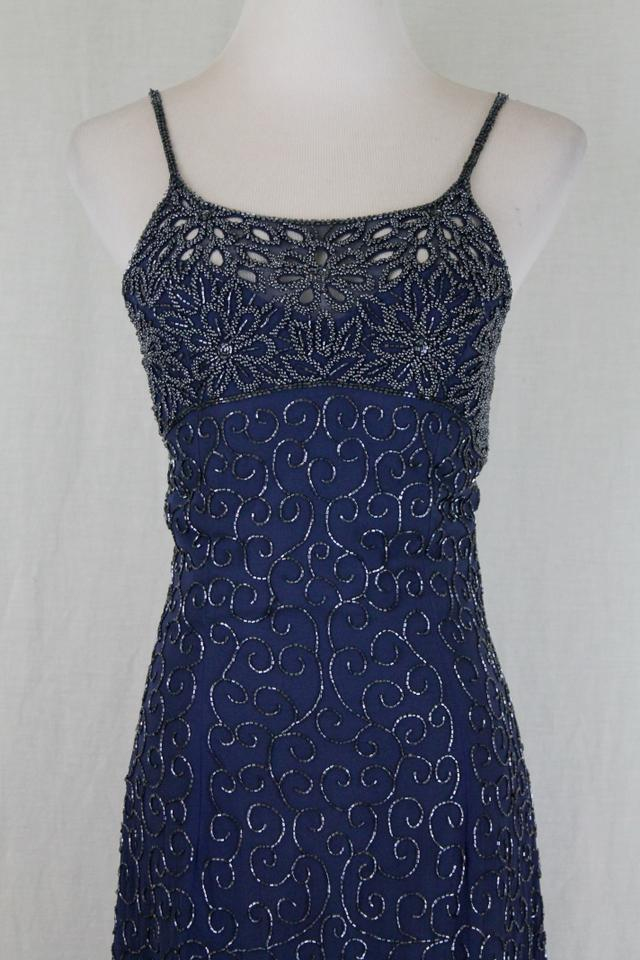 Cache Blue Vintage Beaded Navy Silk Spaghetti Strap Evening Gown ...