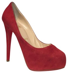 Christian Louboutin red suede Platforms