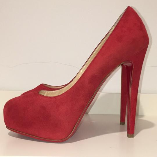 Christian Louboutin red suede Platforms Image 3