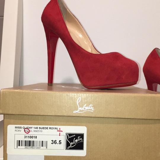Christian Louboutin red suede Platforms Image 7