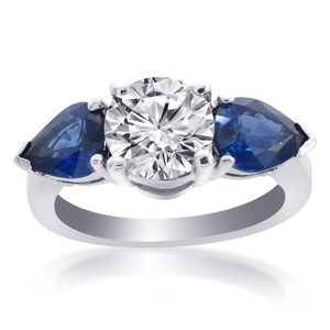 Avital & Co Jewelry 14k White Gold 4.31 Carat G-si2 Diamond Natural Blue Ceylon Sapphire G Engagement Ring