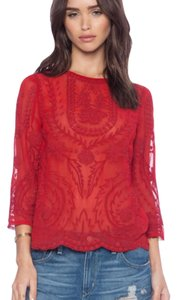 d.RA Embroidered Red Vintage Fall Trend 3/4 Sleeve Top Ruby