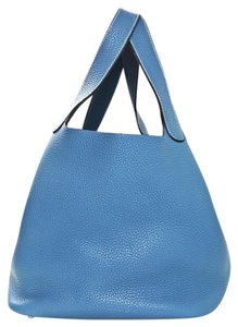 Hermès Picotin Leather Clemence Tote in blue