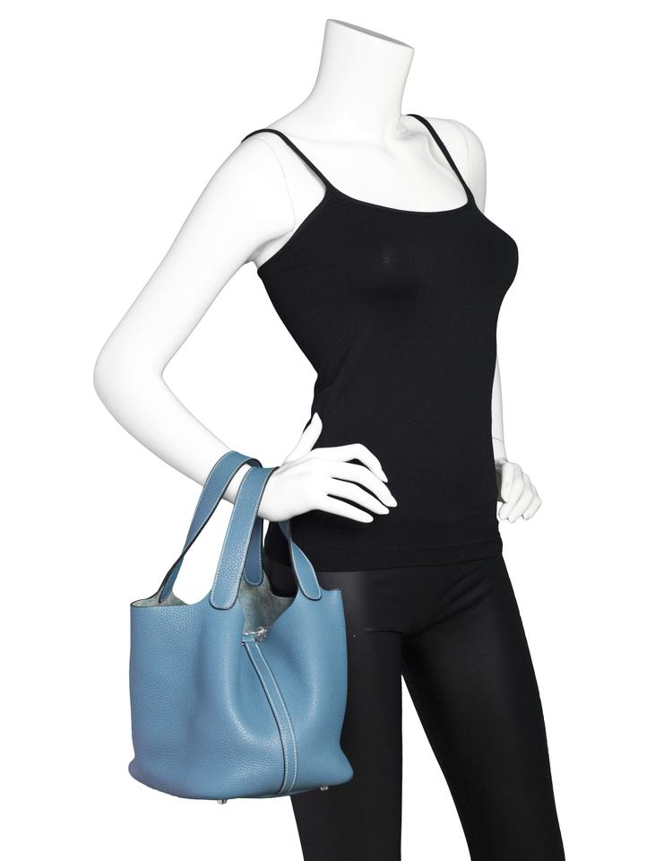 Leather Blue Lock amp; Clemence Bluejean Keys Tote Mm with Hermès Picotin TP8Tp