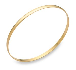 Apples of Gold 14K Gold Plain Bangle Bracelet (2mm), 7